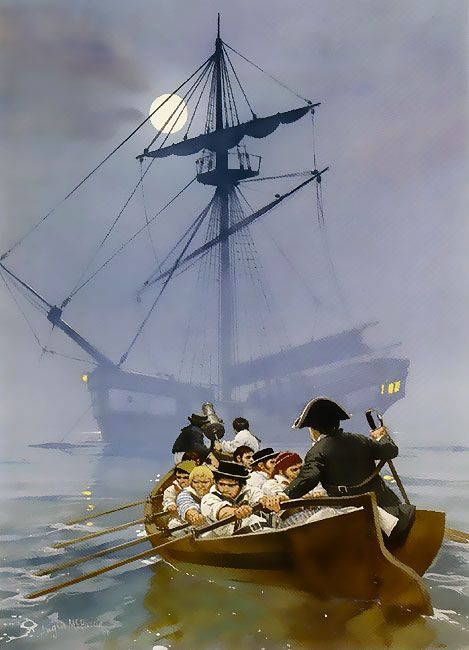"""""""Early revolutionary war privateers off the coast of Rhode Island, 1775"""", Angus McBride"""