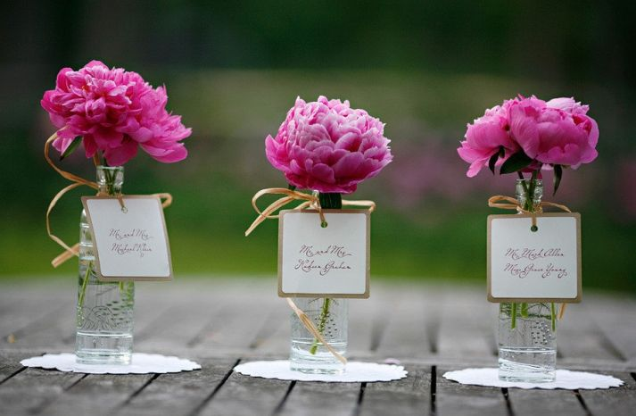 Peonies Escort Cards