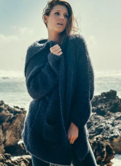 Fluffy Knit Hoodie charcoal | humidity DESIGN
