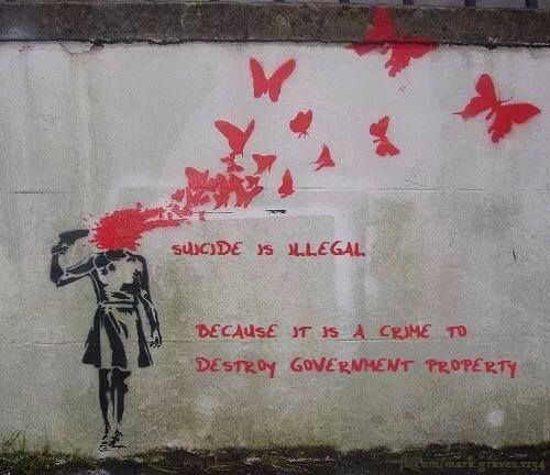 human-timelord-metacrisis:  glitterist:  feahrs:  gazeonmy:  tommyoliverblogs:  hirosashii:  micthemicrophone:  Damn.  WOW  FUCK SHIT  Wow  this  just had to  this is why i love banksy.   i mean do you see this shit  this stuff is deep  i mean if he grafi