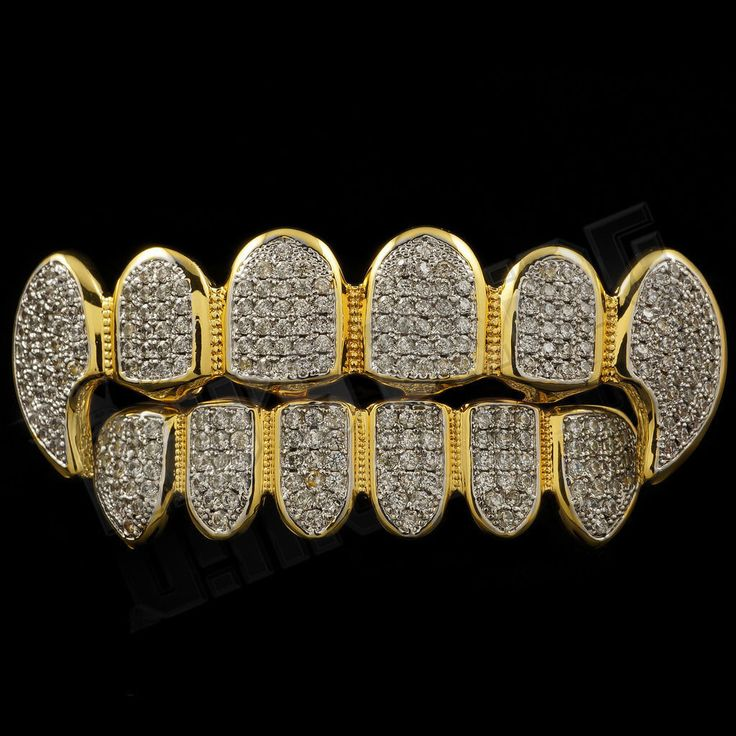 18K Gold Plated CZ Fangs Rhodium GRILLZ Set
