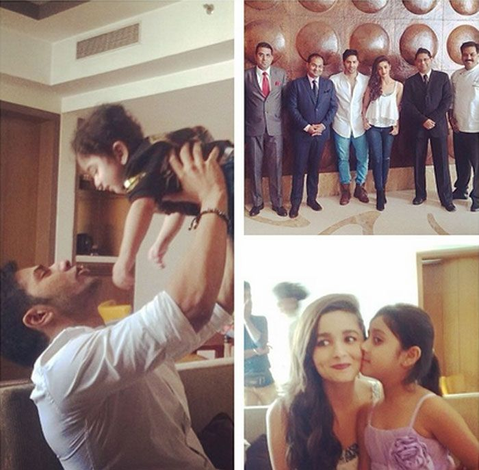 Varun Dhawan posted a collage of him and Alia Bhatt with their young fans. #Style #Bollywood #Fashion #Beauty