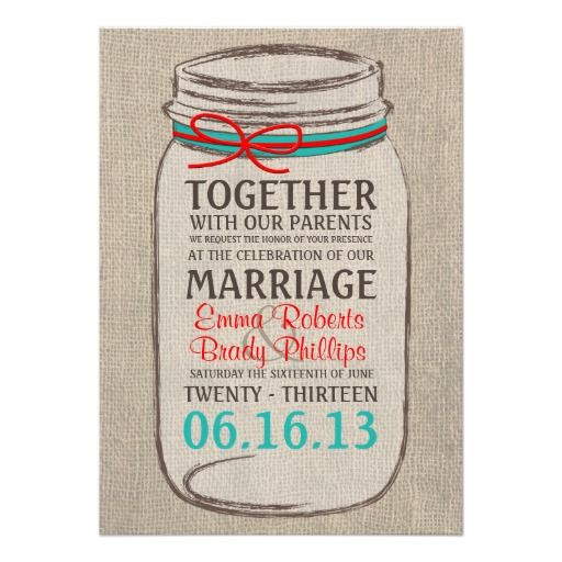 Rustic Burlap & Mason Jar Wedding Invitation