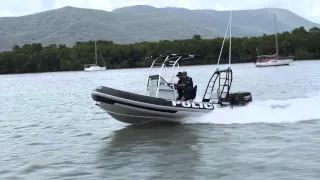 Today there are 12 Water Police units based along the Queensland coast from Thursday Island to the Gold Coast. Officers use the latest technology and equipment to assist in patrols and search-and-rescues. These guys are patrolling the beautiful clear waters of Cairns.