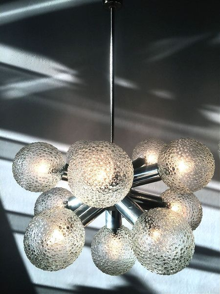 1 Of 2 Sputnik Orbit1960 S 1970 East German Starburst Chandelier Wall Light