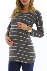Grey Striped 3/4 Sleeve Maternity Top