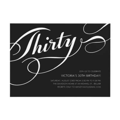 Black Elegant 30th Birthday Invitations by UniqueInvites