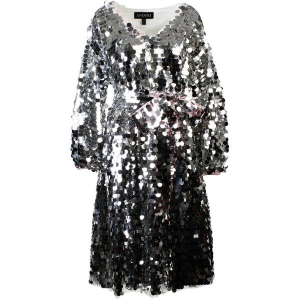 Anouki Sparkly Silver Dress ($915) ❤ liked on Polyvore featuring dresses, silver, sequin embellished dress, v neck dress, sequin dress, silver sequin dress and v neckline dress