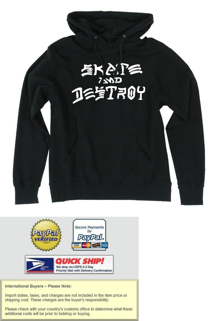 Men 159067: Thrasher Skate And Destroy Pullover Skateboard Hoodie Black Medium -> BUY IT NOW ONLY: $44.95 on eBay!