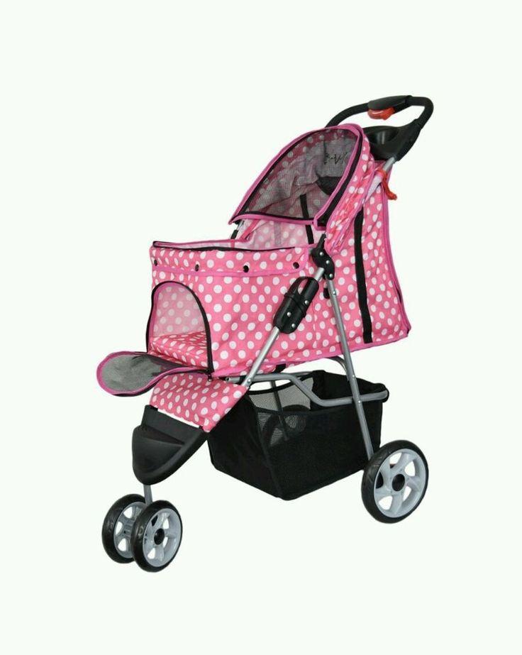 Pink Dot Dogs Cat Stroller Travel Trip Floder Carrier Strolling Cart Three Wheel #Vivo