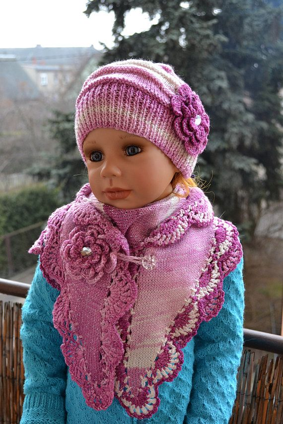 Knitted Children's hat/cap and scarf shawl red pink by DosiakStyle