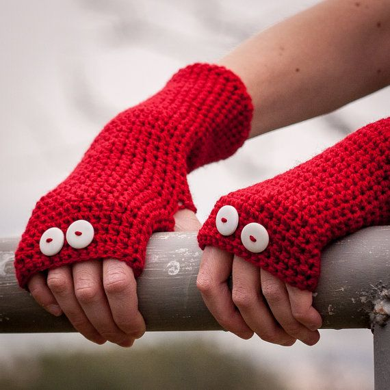 Red Fingerless Gloves / Crochet Button Arm Warmers / by RUKAMIshop