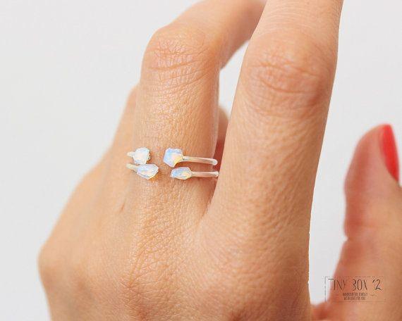 Opale anello anello in argento anelli accatastamento di TinyBox12