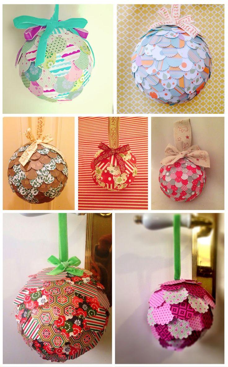 121 best manualidades de bolas de navidad images on - Manualidades navidad papel ...
