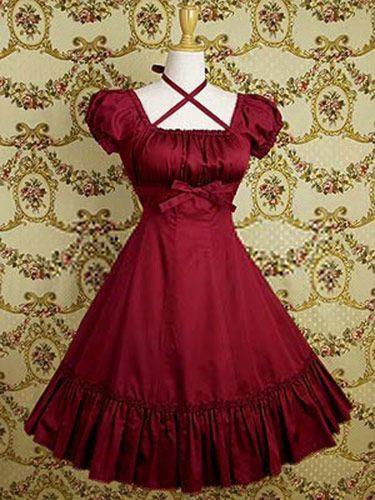 Robe élégante aristocrat lolita rouge  avec noeud EGL EGA