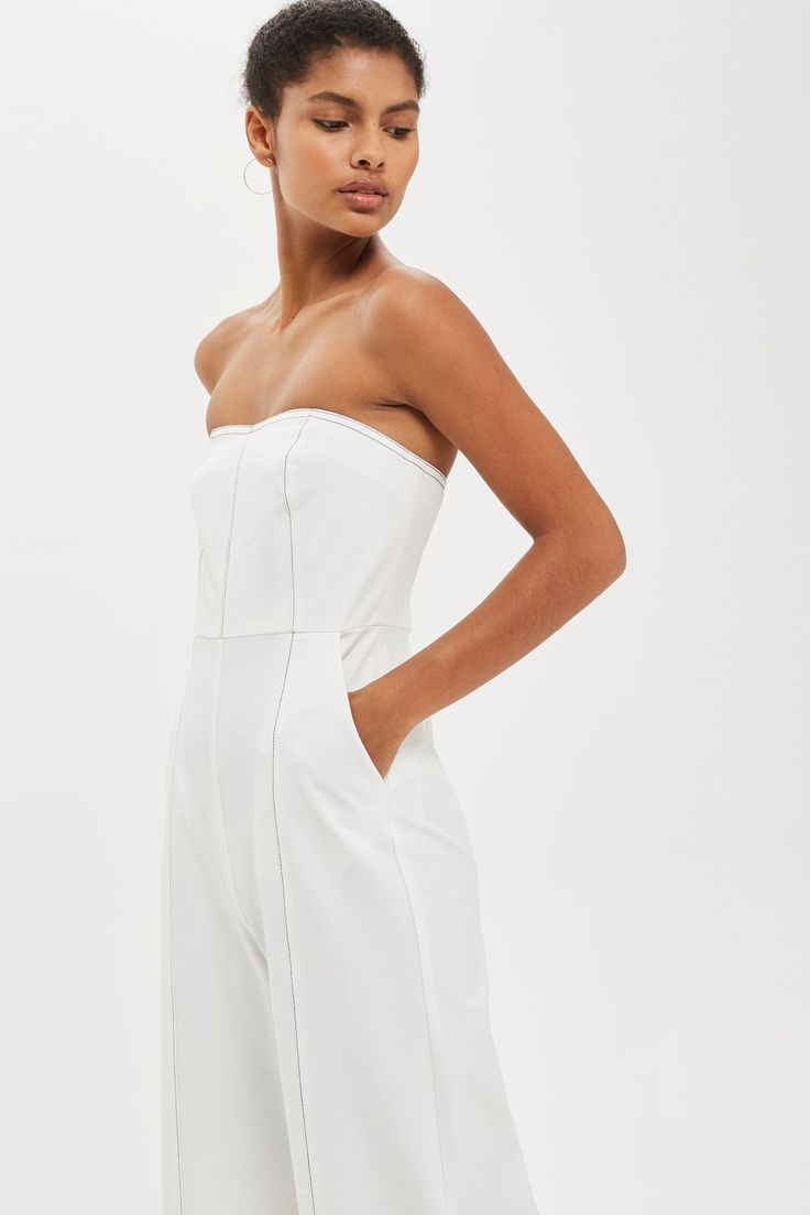 Topstitch All White Bandeau Jumpsuit | Minimal Style | Topshop UK affiliate