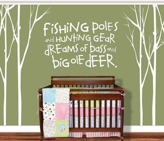Hunting Fishing Deer Baby - Fishing Pole Tree decal- Childrens Room - Wall Decals Nursery Vinyl decal on Etsy, $100.00