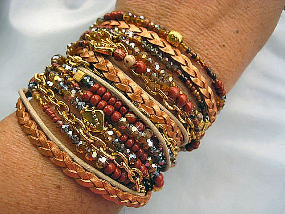 "Chic Endless Leather Wrap Czech Crystal Red Jasper Beaded Bracelet ""Chakra""....Adjustable   by LeatherDiva, $58.00"