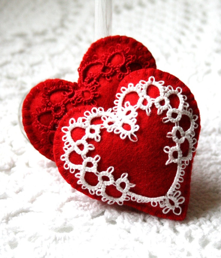 Two Red Felt Heart Sachets with Tatted Hearts by KnotTherapy