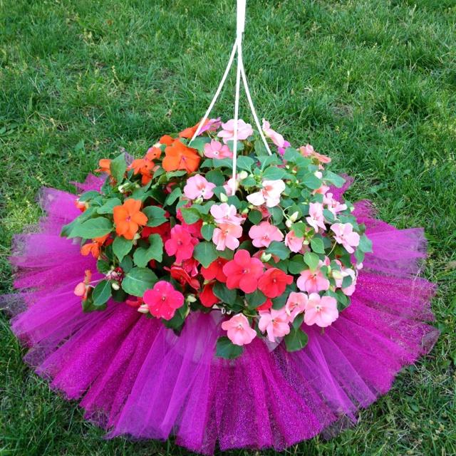 Hanging pot of flowers + tutu = a really cute gift for a dance teacher!