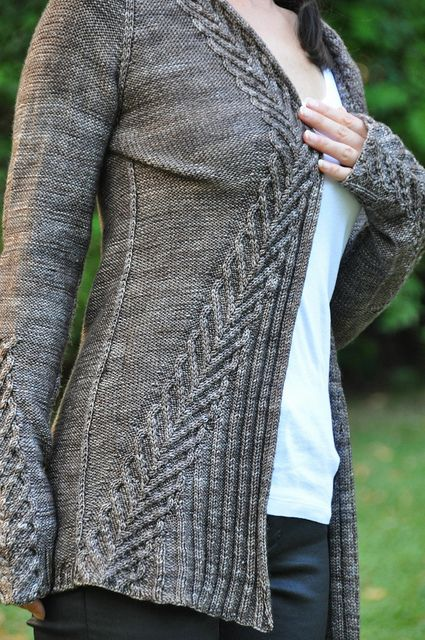 Ravelry, really pretty sweater design. Very elven!