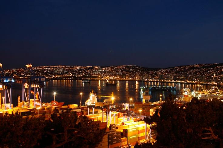 Valparaíso at night, Chile.