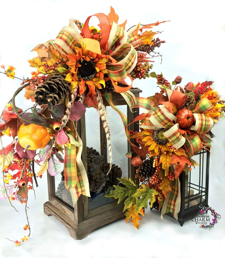 Fall lantern swags with sunflowers, leaves, pumpkins and pine cones by www.southerncharmwreaths.com