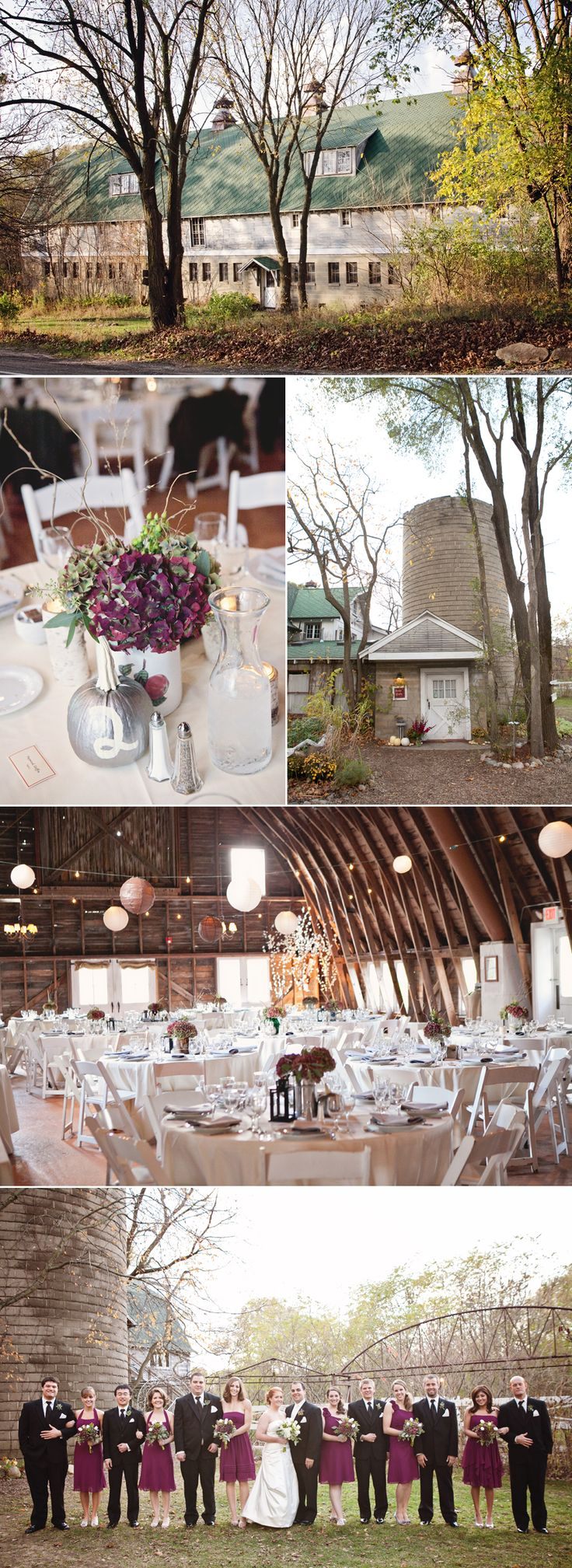 Adorable purple and fuchsia fall barn wedding at the Blue Dress Barn in Benton Harbor, Michigan.