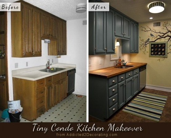 Tiny condo kitchen before and after, with teal cabinets and