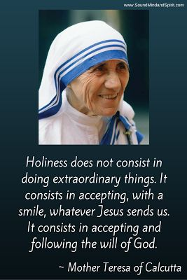 Mother Teresa of Calcutta quote with smiling image.