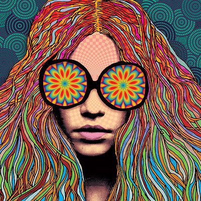Girl with Kaleidoscope Eyes Blotter Print poster