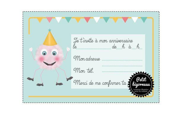 Carte d'invitation d'anniversaire Petit monstre par Petitbigorneau