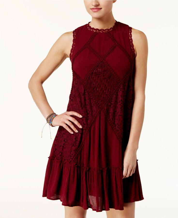 00c038c3c American Rag Juniors' Lace Mock-Neck Shift Dress, Created for Macy's - Juniors  Dresses - Macy's | Dresses | Black dresses for juniors, Junior dresses, ...