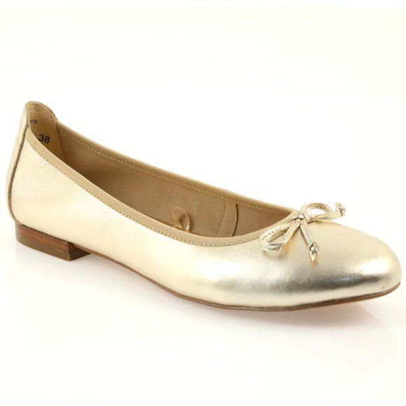 Caprice balerinki złote buty damskie 22102 żółte | Balerinki