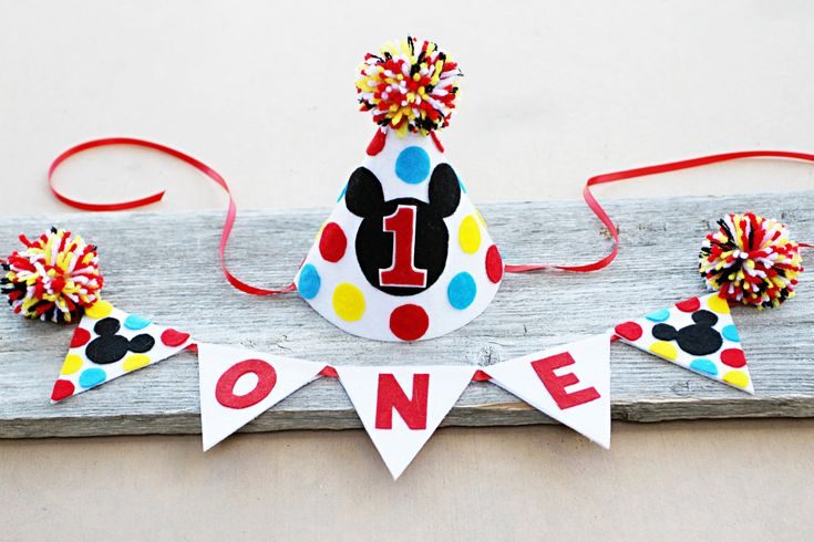 Boys Mickey Mouse 1st Birthday Party Hat - Cake Smash - Boys Mickey Mouse High Chair One Banner by LaLaLolaShop on Etsy