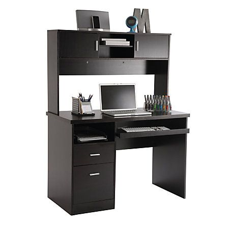 Ilra Transitional Engineered Wood Computer Desk With Hutch 56 1 2 H X