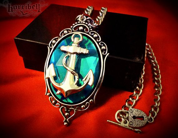 Anchor Necklace - Aqua & Silver, Anchor Pendant, Nautical Jewelry, Rockabilly Jewelry