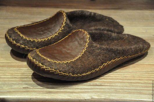 Обувь ручной работы. Заказать Валяные  тапочки  с кожей