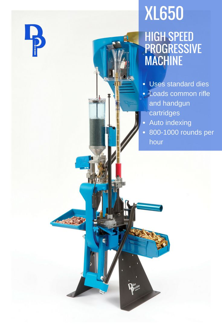 The Dillon XL650 is a high-speed progressive reloading machine designed to load the common rifle and handgun cartridges, from 17 Hornet though 458 Winchester Magnum in rifle, and 32 ACP through 500 S&W in handgun.