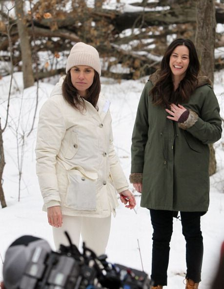 Amy Brenneman and Liv Tyler seen filming 'The Leftovers' on February 20 2014 in Harrison New York