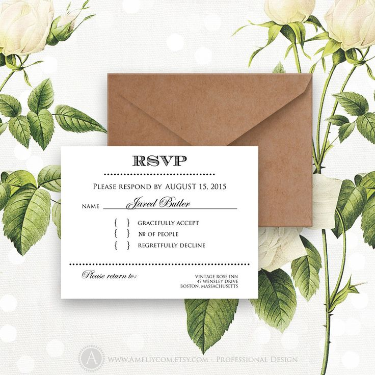 Printable RSVP Card Instant Download White Reply Card Digital EDITABLE Response Cards for Wedding, Birthday, Shower + Back PostCard
