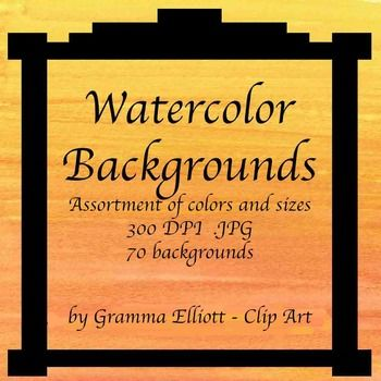 """Watercolor backgrounds were hand painted by me. There are 72 .JPG images in this set. They are for personal and educational use. You may use them to make products to sell on """"teacher web sites."""" You may not sell them as a package as is. I very much appreciate credit in your"""