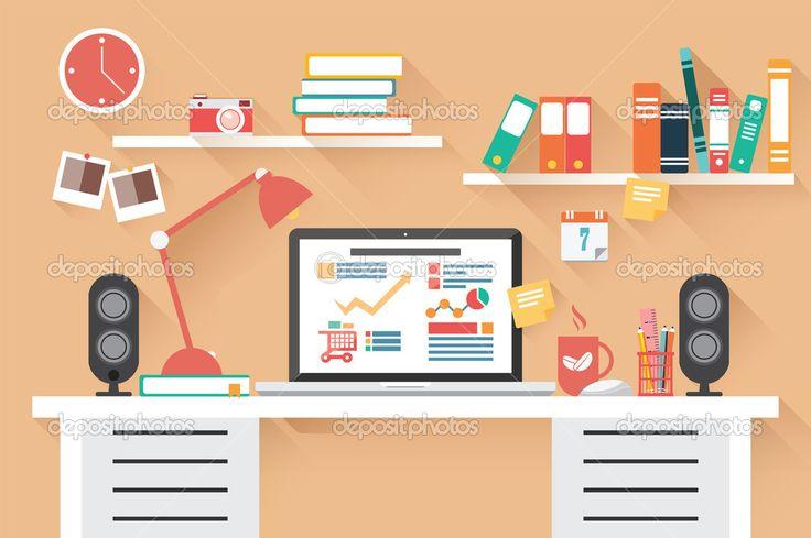 depositphotos_52170437-Home-office-desk-flat-design.jpg (1023×681)