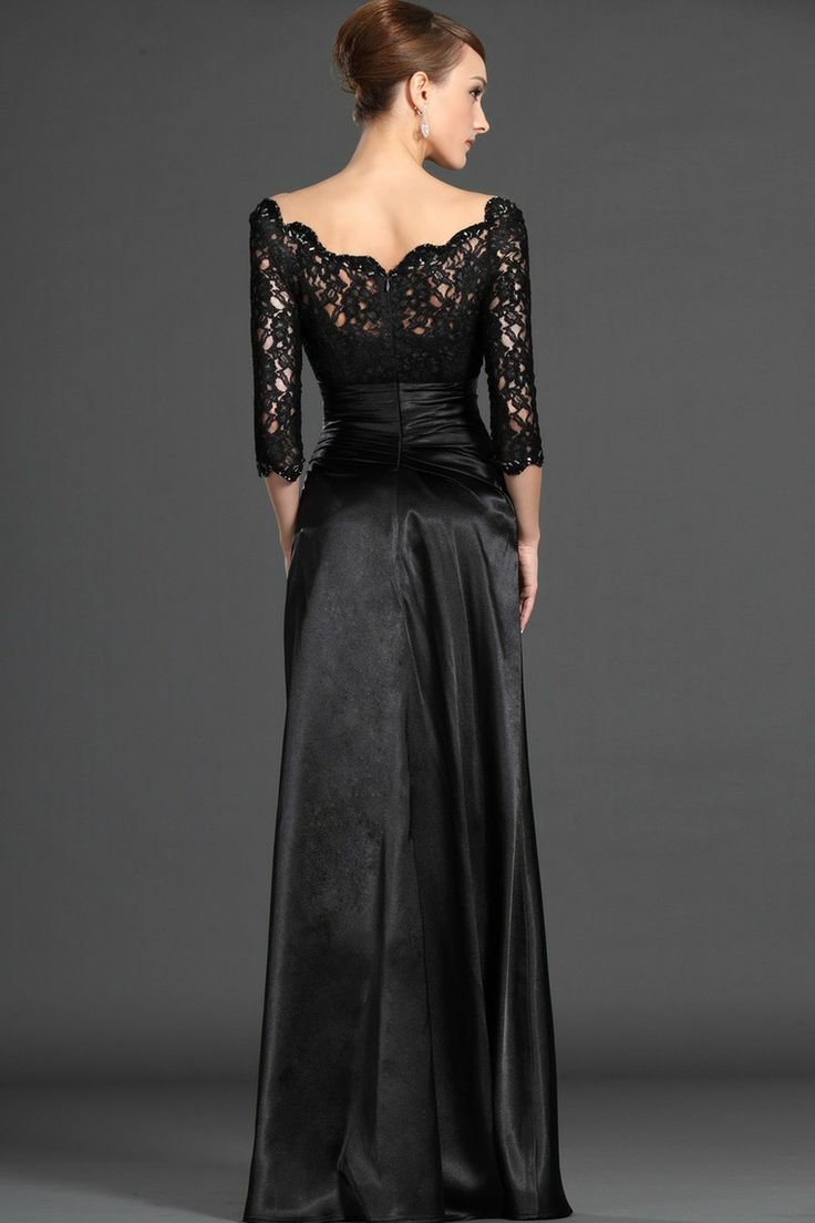 Concise Mother Of The Bride Dresses Scoop  Scalloped Neckline 3/4 Length Sleeve Black