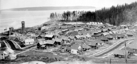 A view of the earliest part of the Powell River townsite, looking down towards the commercial district and the harbour. Early 20th century.