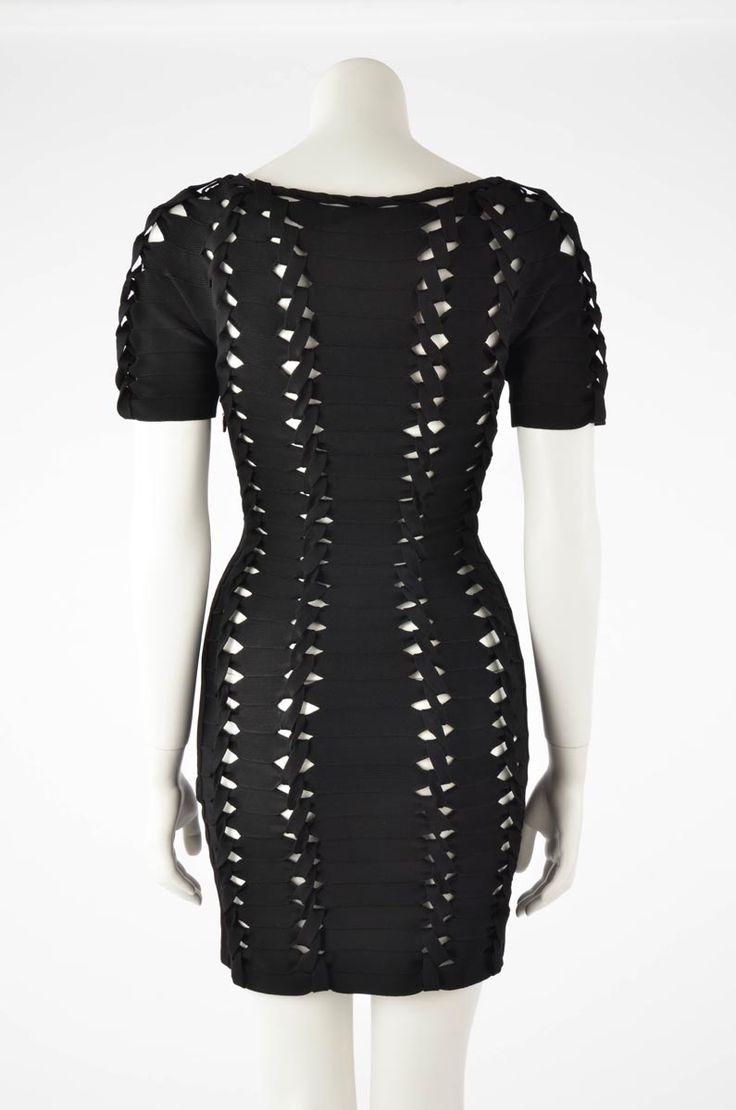 Herve Leger Black Twisted Cutout Dress