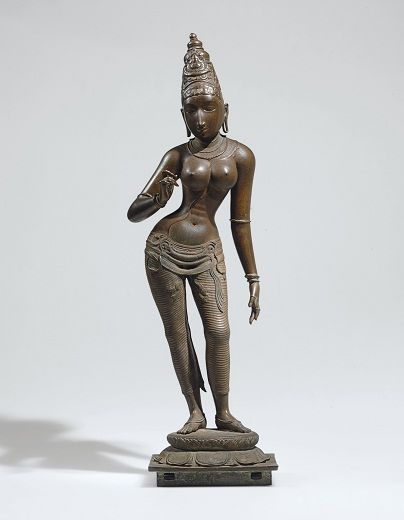 A HIGHLY IMPORTANT AND LARGE BRONZE FIGURE OF PARVATI  South India, Vijayanagar Period, circa 1400