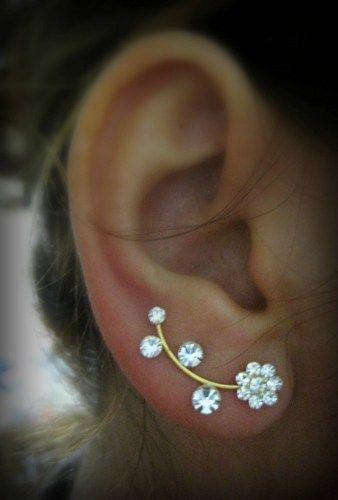 Ear Sweep Wrap - Cuff Earring with Swarovsky - Gold Filled- Flower | blucky - Jewelry on ArtFire