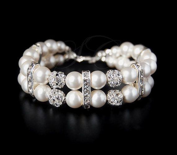 Braut Perlen Armband Manschette zwei Strang Hochzeit Schmuck Swarovski Perle Zirkonia Classic Giselle B04   – Perlen Fädeln