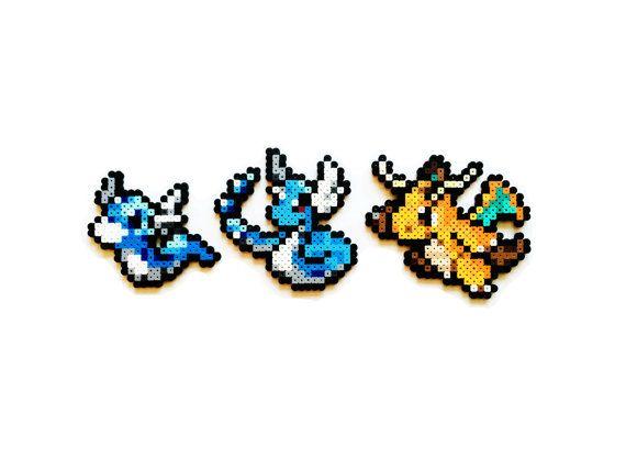 Pokemon Perler - Dratini / Dragonair / Dragonite